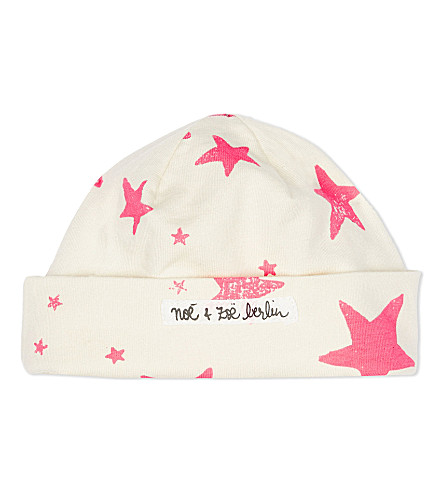 NOE AND ZOE Star cotton hat 3-6 months (Neon+pink+star