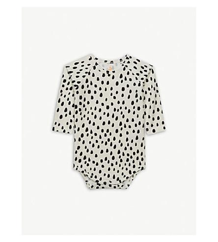 NOE & ZOE Spot print cotton-blend bodysuit 0-18 months (Black+dots