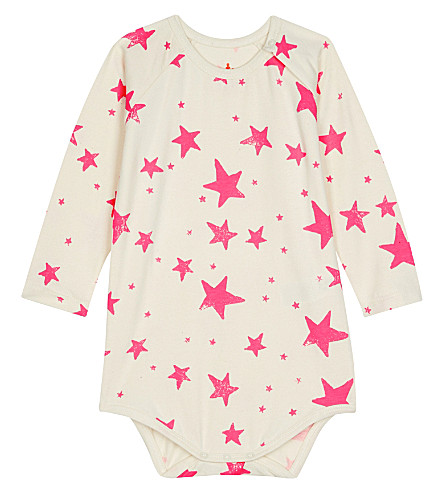 NOE AND ZOE Star cotton baby-grow 0-18 months (Neon+pink+star