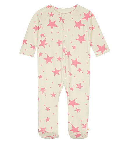 NOE & ZOE Star-printed cotton babygrow (Neon+pink+star