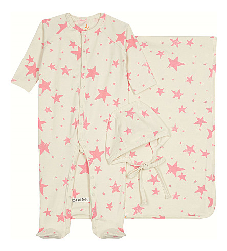 NOE AND ZOE Star three-piece cotton gift set 0-12 months (Neon+pink+star