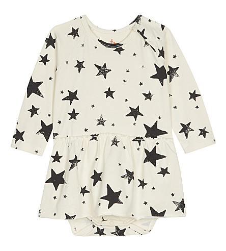 NOE & ZOE Star cotton dress 0-12 months (Black+star