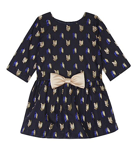 HUCKLEBONES Bow trimmed long sleeved dress 3-18 months (Navy/blush/gold