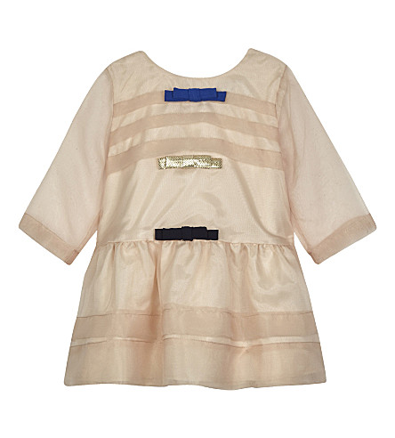 HUCKLEBONES Bow trim organza long-sleeved dress 3-18 months (Peach/gold