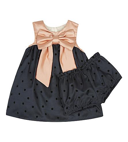 HUCKLEBONES Spotted bow dress and pants set 3-18 months (Navy/milkshake
