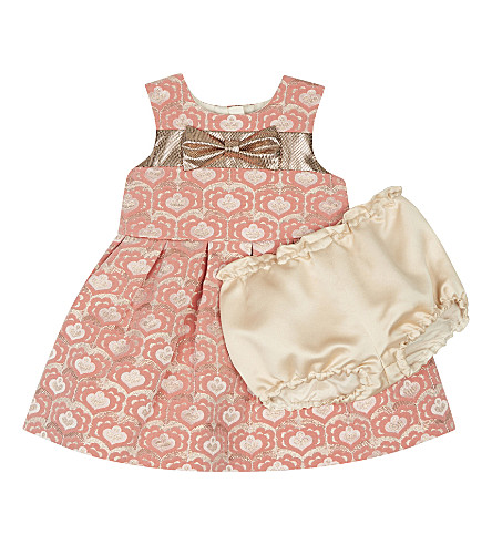 HUCKLEBONES Metallic jacquard dress and pants set 3-18 months (Rose/rose+gold