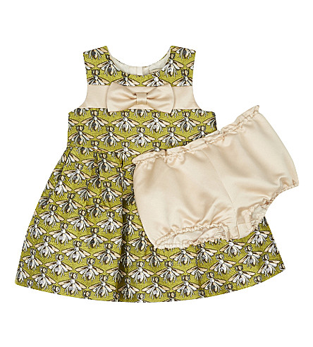 HUCKLEBONES Metallic wasp dress and pants set 3-18 months (Chartreuse+shimmer