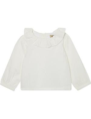 HUCKLEBONES Ruffle neck blouse 3-18 months