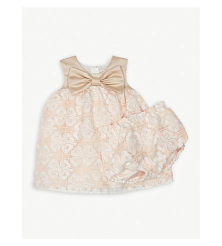 HUCKLEBONES Trapeze satin and lace dress 3-18 months (Blush/cloud+white