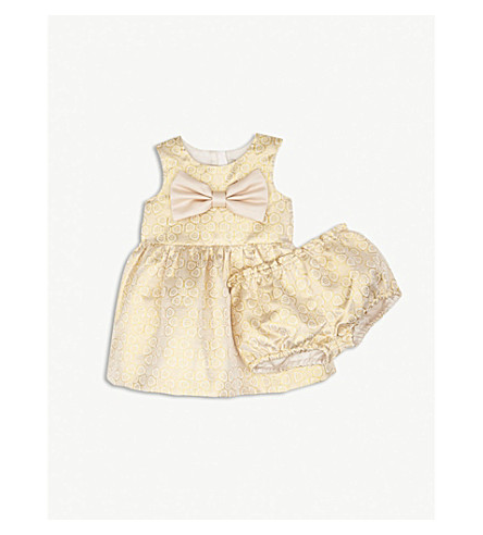 HUCKLEBONES Metallic floral bow dress and bloomers set 3-18 months (Yellow+gold
