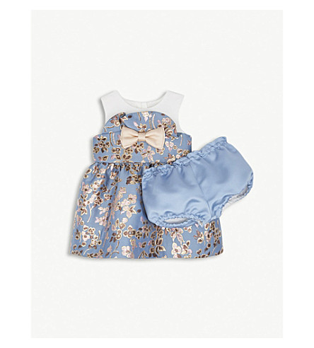 HUCKLEBONES Metallic floral dress and bloomers 3-18 months (Cornflower/gold