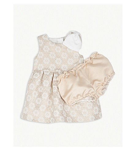 HUCKLEBONES Floral print dress and bloomers set 3-18 months (Porcaline/rose+gold
