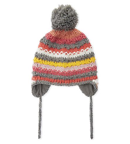 BARTS BV Skeely striped pompom Inka hat (Heather+grey