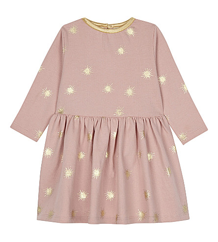 THE LITTLE TAILOR Printed star jersey dress 0-36 months (Bz+pink+starburst