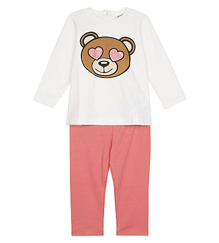 MOSCHINO Teddy heart eyes cotton top and bottoms set 3-36 months (White/pink