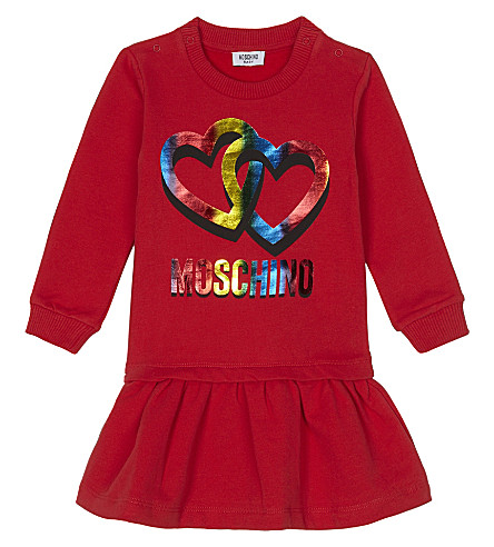 MOSCHINO Heart logo long-sleeved cotton dress 3-36 months (Red