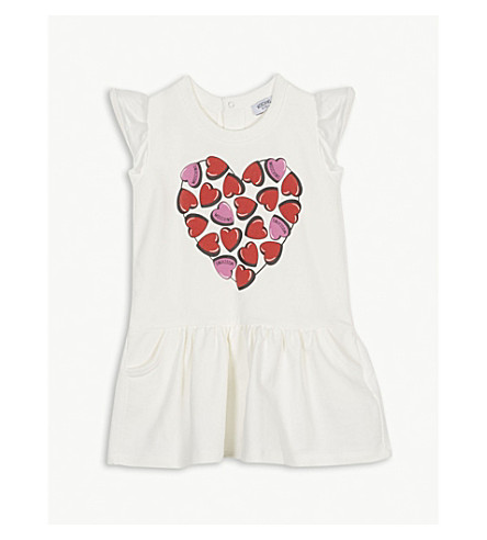 MOSCHINO Heart print cotton frill sleeve dress 6-36 months (White