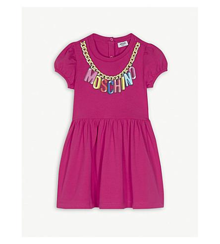 MOSCHINO Logo chain cotton-blend dress 6-36 months (Fuchsia