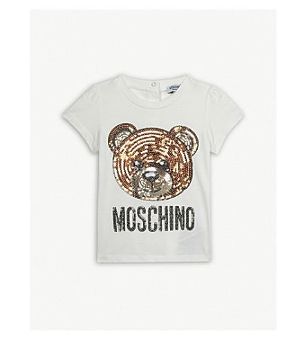 MOSCHINO Sequin bear cotton-blend T-shirt 6-36 months (White