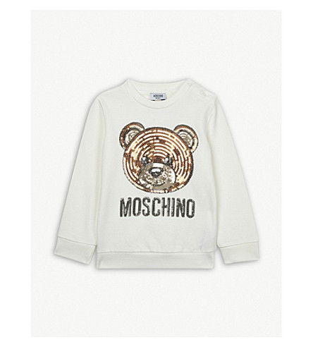 MOSCHINO Sequin bear cotton-blend jumper 6-36 months (White