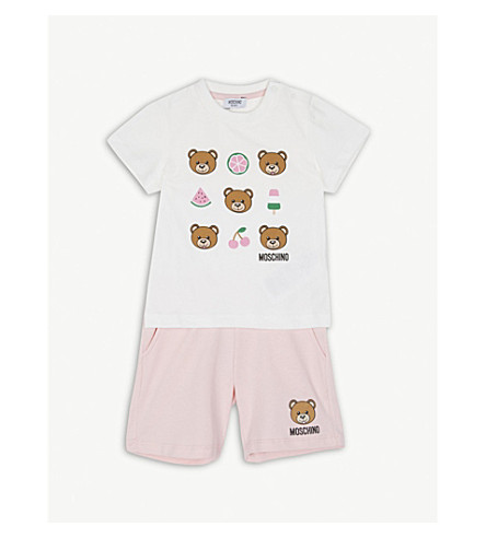 MOSCHINO Bear print T-shirt and shorts set 6-36 months (Pink