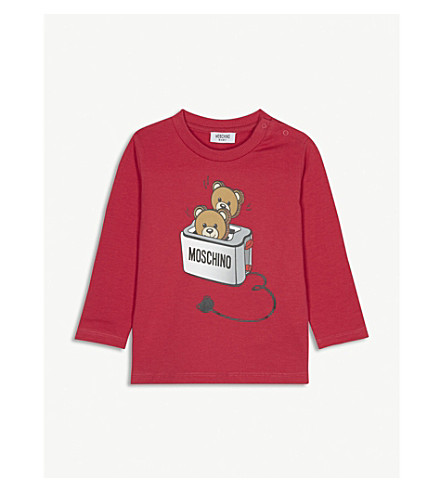 MOSCHINO 烤面包机泰迪熊长袖 T 恤 12-18 月 (珍惜 + 红色