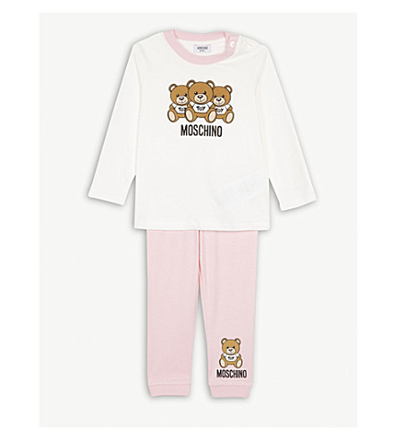 MOSCHINO Bear cotton two piece baby set 6-36 months (Pink