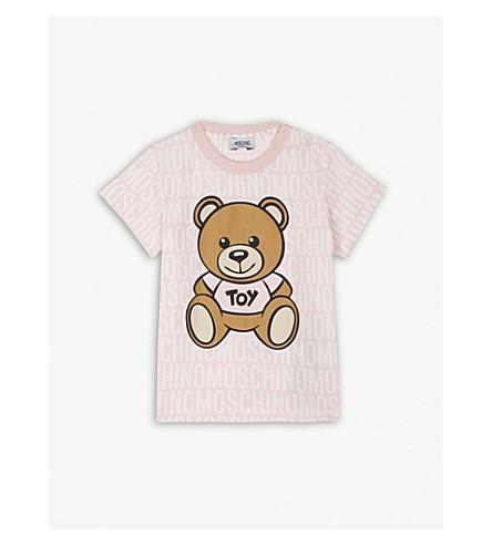 MOSCHINO Bear print cotton T-shirt 6-36 months (Pink