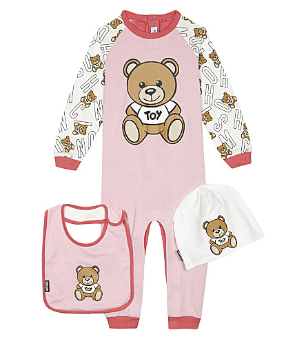 MOSCHINO Teddy bear onesie set 0 -12 months (Pink