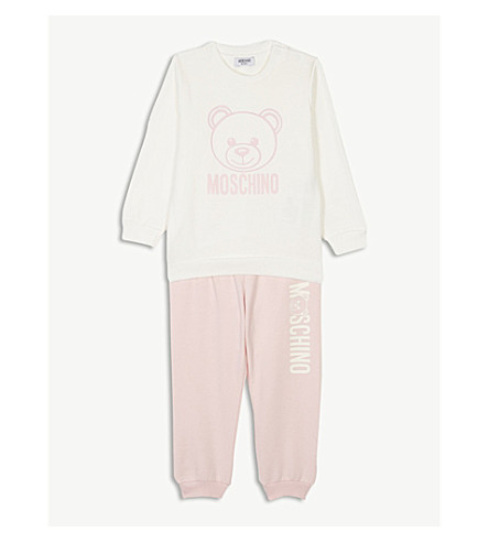 MOSCHINO Logo teddy bear cotton-blend tracksuit 6-36 months (Pink