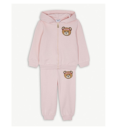 MOSCHINO Teddy print cotton-blend tracksuit 6-36 months (Pink