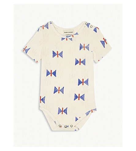 BOBO CHOSES Butterfly print organic cotton bodysuit 3-18 months (Cream