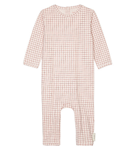 TINY COTTONS Grid cotton baby-grow 0-18 months (Pale+pink/red