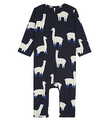 TINY COTTONS Llama print baby-grow 0-18 months (Dark+navy/beige