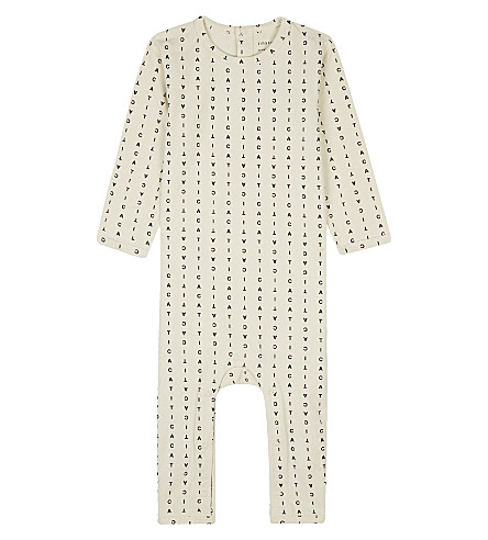 TINY COTTONS Alphabet soup stretch-cotton sleepsuit newborn-18 months (Beige/black
