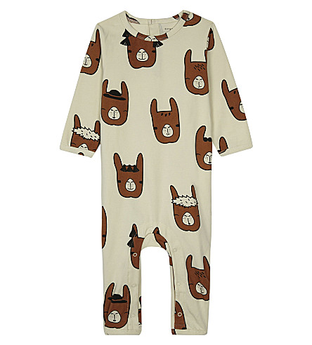 TINY COTTONS Lama cotton baby-grow 0-18 months (Beige/brown