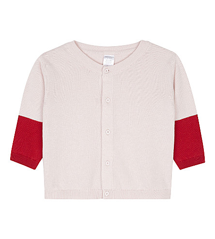 TINY COTTONS Colour block knitted cardigan 0-18 months (Pale+pink/red