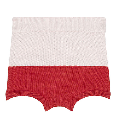 TINY COTTONS Colour block knitted bloomers 0-18 months (Pale+pink/red