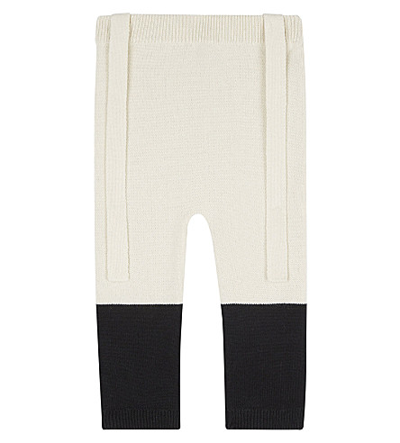 TINY COTTONS Colour block knitted trousers 0-18 months (Beige/black