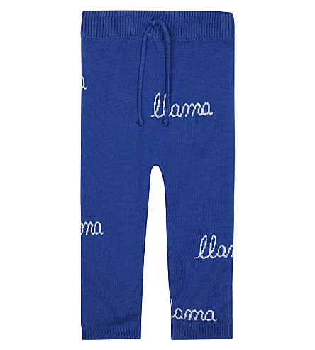 TINY COTTONS Llama knitted extra fine merino wool-cotton blend trousers 0-18 months (Blue/lightblue