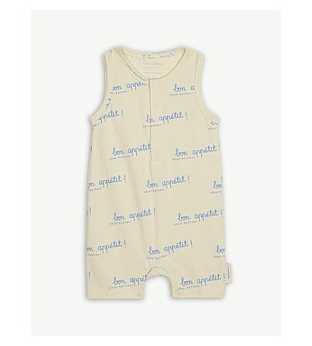 TINY COTTONS 'Bon Appetit!' print cotton-blend short-all 0-18 months (Cream