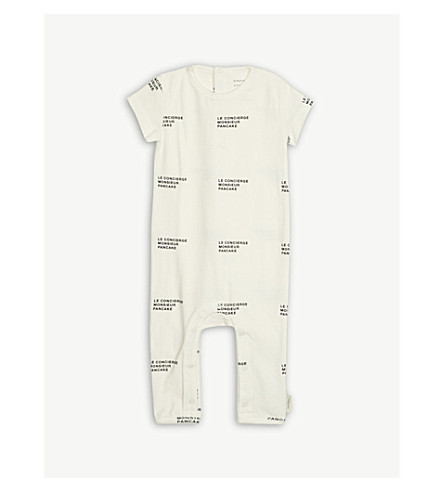 TINY COTTONS Printed cotton-blend all-in-one 0-18 months (Cream