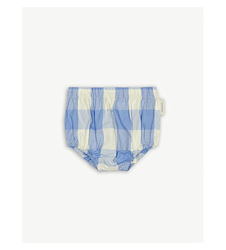 TINY COTTONS Check print cotton-blend bloomers 0-18 months (Blue