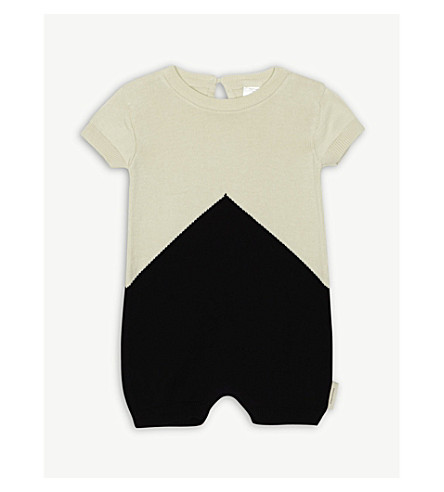 TINY COTTONS Colour-block knitted cotton bodysuit 0-18 months (Navy