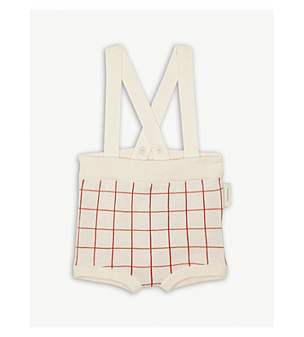 TINY COTTONS Grid print knitted cotton bloomers 0-18 months (Cream