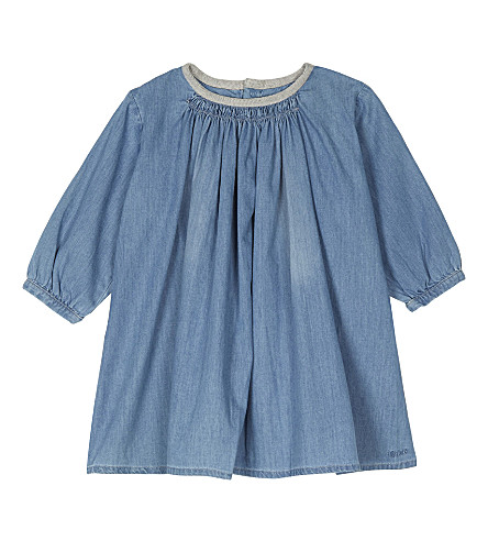 CHLOE Ruffle-neck cotton denim dress 6-36 months (Denim+blue