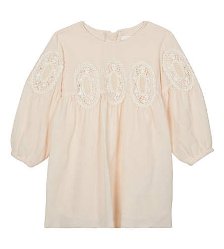 CHLOE Embroidered crepe dress 6-36 months (Pale+pink