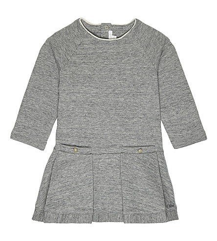 CHLOE Pleated cotton-blend dress 6-36 months (Grey