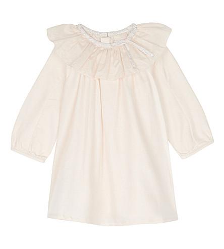 CHLOE Ruffle collar cotton dress 6-36 months (Pale+pink