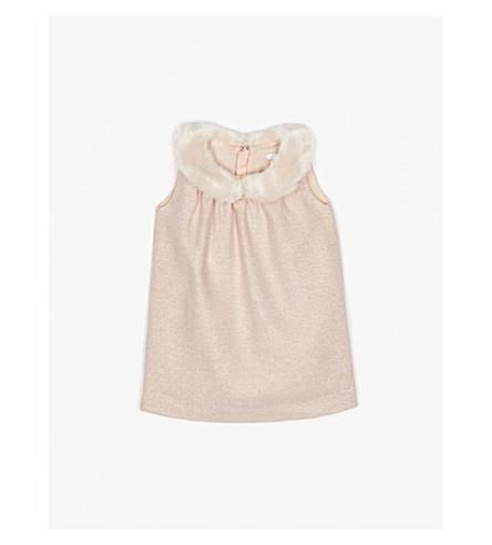 CHLOE Faux-fur collar sleeveless dress 6-36 months (Pink